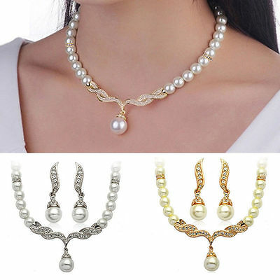 Pearl Crystal Earrings Bridal Set Necklace Women golden or silver