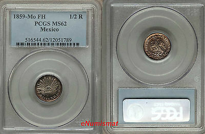 Mexico Republic Silver 1859 Mo-FM 1/2 Real PCGS MS62 Nice Toning  KM# 370.9