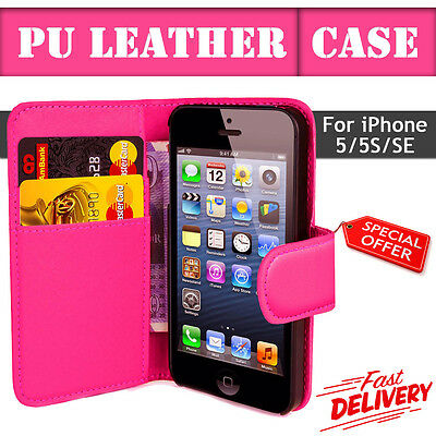 Flip Wallet Leather Case Cover For Apple iPhone 5 5S SE (P100