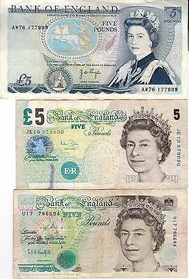 Great Britain.British,England Three Bank Notes 5 Pounds Currency, Paper Money