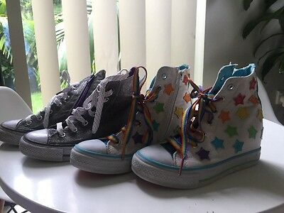 Girls Skechers High Top Sneakers Shoes x 2 Pairs