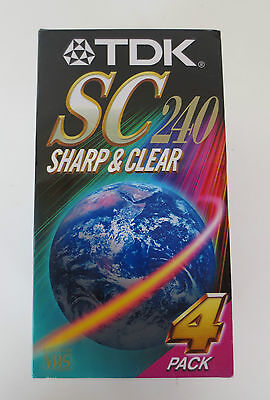 TDK SC 240 4 Pack Blank VHS Tapes Brand New Sealed *VCR