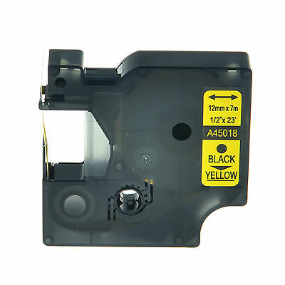 1PK 45018 Black on Yellow Label Tape Compatible For Dymo D1 Labelmanager 12mm