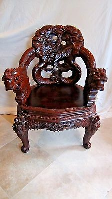 ANTIQUE 19c CHINESE WOOD CARVED DRAGONS ARM CHAIR,THRONE