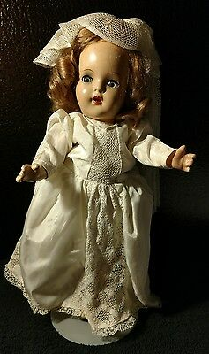 """Antique/Vintage Composition doll in bridal gown 13 1/2"""""""
