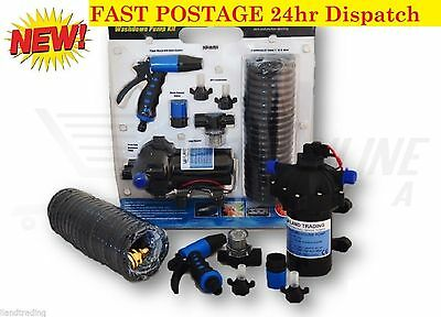 12v Washdown Pump Kit 20L/min 70 PSI Deck Wash Caravan Boat - 1 Year Warranty.