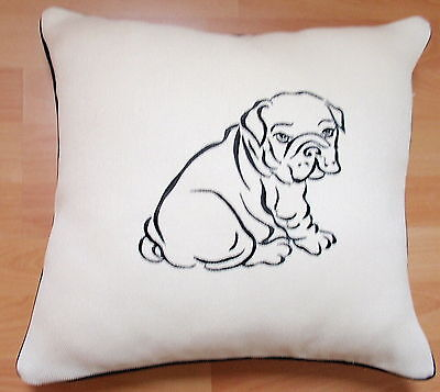 ENGLISH BULLDOG PUPPY. EMBROIDERED SKETCH -BN cotton CUSHION COVER- LOVELY