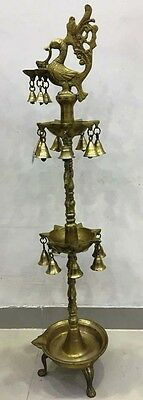 EXTRA LARGE -Vintage Style Traditional BRASS DIYA / LAMP -Peacock type- 36 Inche