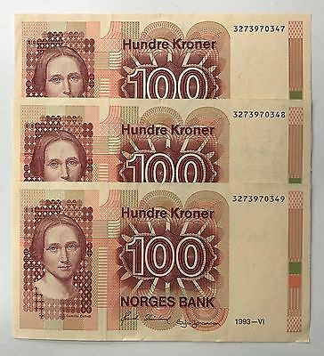 3 X 100 Kronur Banknote Collection - Norway - 1993 - Unc - Consecutive. (816)