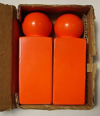 Retro 1970s Bright Orange Salt and Pepper Shakers