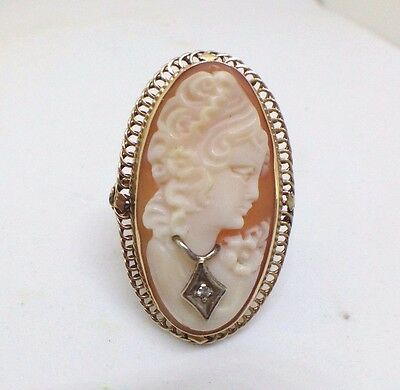 Vintage 14k Yellow Gold Cameo with small Diamond Ring -  6.4 grams Size 6.25