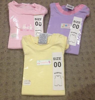 Size 00 Short Sleeve Baby Romper / Bodysuit New With Tags X 3 Suits