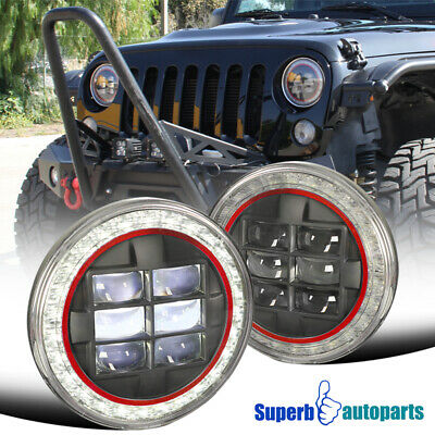 "7"" Round Cree Halo LED Black Projector Headlights Red Rim Jeep Wrangler JK 2PC"