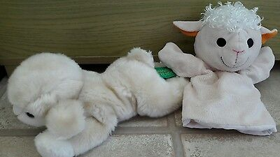 Two Cute Lamb Soft Cuddly Toys inc Hand Puppet
