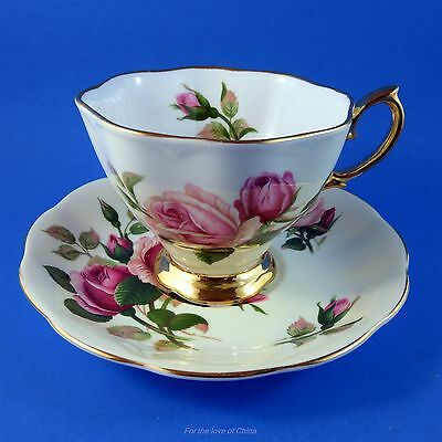 Royal Albert Pink Roses on Pale Yellow Tea Cup and Saucer Set