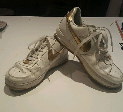 Nike White/ Gold Air Force 1 Air Force One Shoes Sneakers Size 8 US