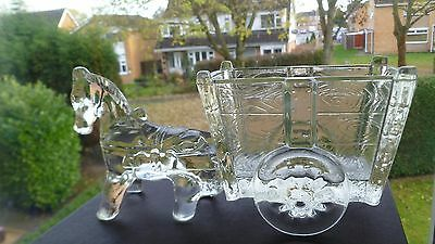 Vintage Davidson Colliery Sugar Pressed Glass Boat