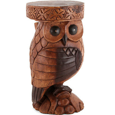 Owl Side Table/Stool/Solid Acacia Wood/Lamp Table/Plant Stand/Hand Carved
