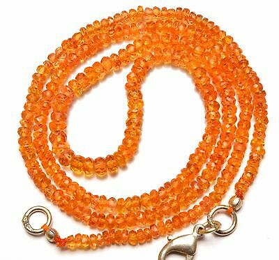 Natural Gem Orange Color Spessartine Garnet 3 to 4MM Faceted Beads Necklace 18""