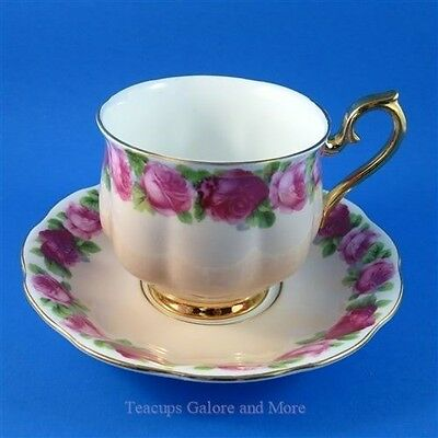 Rare Royal Albert Old English Rose on Peach Tea Cup and Saucer Set