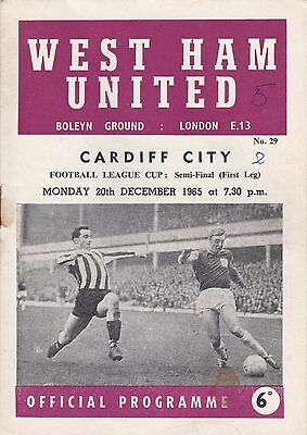 WEST HAM v CARDIFF 1965/6, LEAGUE CUP SEMI-FINAL