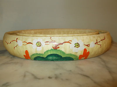 """ART DECO HAND PAINTED oval POSY RING  """"CLARICE CLIFF STYLE"""" 10 1/2"""" X 7 1/2"""