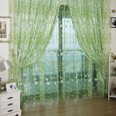 Floral Tulle Voile Room Door Window Curtain Drape Panel Sheer Scarf Valances Gre