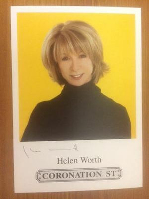 "Helen Worth Coronation Street Pre-Printed Signature Cast Card 6"" X 4""."