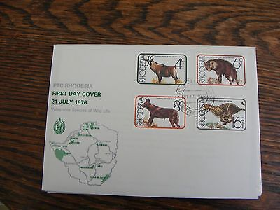 RHODESIA FDC  VULNERABLE SPECIES OF WILD LIFE  21st JULY 1976