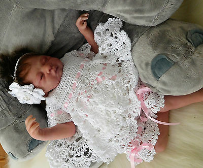 "Crochet White Angel Set To Suit 19"" Reborn"