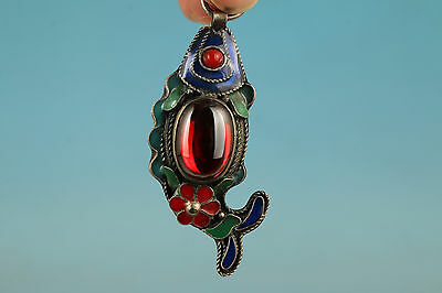 Chinese Old jade silver Cloisonne Collection Handmade Fish Statue Pendant