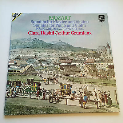 MOZART SONATAS FOR VIOLIN & PIANO HASKIL GRUMIAUX PHILIPS 2 LP Set EX+