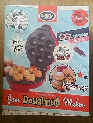 ELECTRIC NON-STICK MINI JAM DOUGHNUT MAKER MAKING MACHINE MAKES 7 DONUTS red
