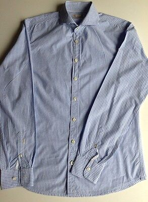 Men's HE Blue Gingham Shirt by Mango. Slim Fit. Medium