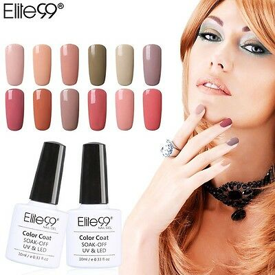 Elite99 Soak Off Gel Polish UV LED Nude Color Range Base Top Coat Nail Art 10ML