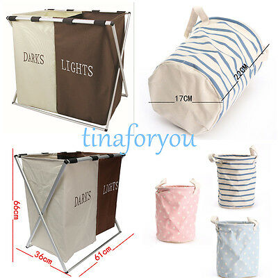 1/2/5 X Laundry Washing Clothes Basket Cotton Linen Oxford fabric Storage Hamper