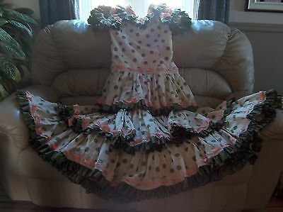 XL Feria dress cream with green dots and pink ribbons