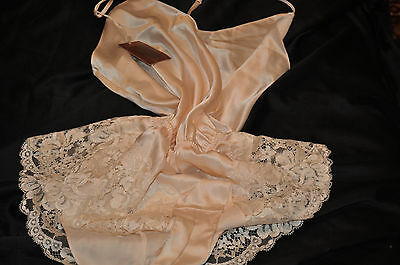 "Vintage ""m&s"" Teddycream Satin&lovely Lace Trims Stunning&glamour French Nwt"