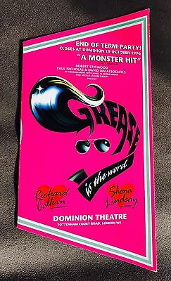 """UNUSUAL 1990's """"GREASE IS THE WORD"""" DOMINION THEATRE PROGRAMME"""