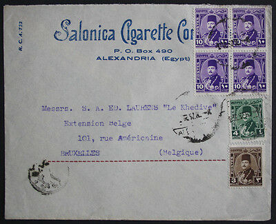 Egypt 1952 Advertising Cover with 6 stamps from Alexandria to Brussels, Belgium