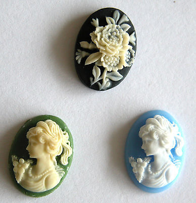 """Victorian Style """"Lady """" & """"Flower"""" Cameo (18*13mm)-41"""