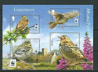Guernsey 2017 Wwf Meadow Pipet Miniature Sheet Unmounted Mint, Mnh
