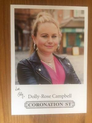 "Dolly Rose Campbell Coronation Street Pre-Printed Signature Cast Card 6"" X 4""."