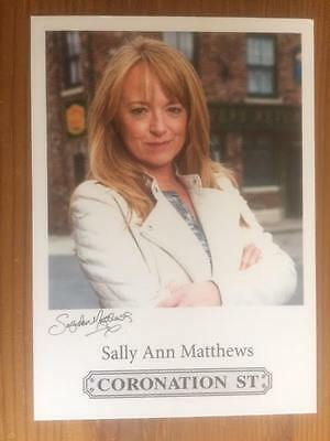 "Sally Ann Matthews Coronation Street Pre-Printed Signature Cast Card 6"" X 4""."