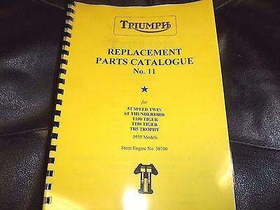TRIUMPH  6T T100 TR5 T110 PRE-UNIT PARTS BOOK MANUAL No.11 220/55 1955 - TP23