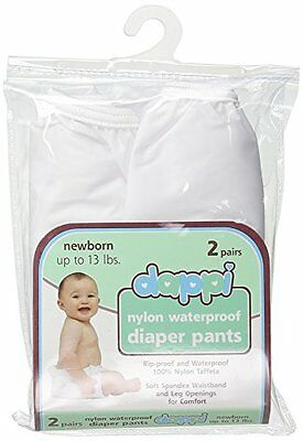 2 Piece Set Dappi Reusable Waterproof Nylon Baby Diaper Pants For Newborn White