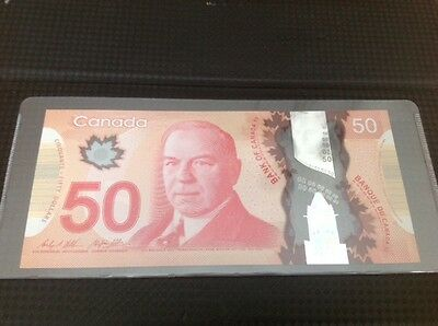 2012 $50 Bank of Canada Note, Wilkins/Poloz Signatures, GHE2725760, UNC+++