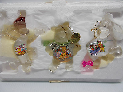 BRADFORD EXCHANGE DISNEY POOH'S CRYSTAL CLEAR ORNAMENTS 3 NEW c