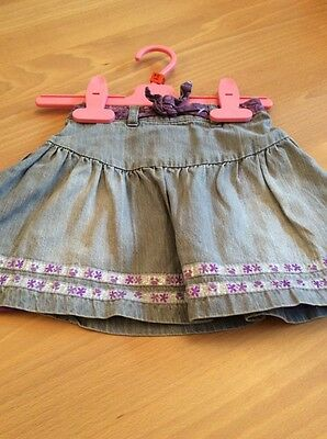 baby girls clothes 9-12 months Grey Cotton Denim Purple Lined Elasticated Skirt