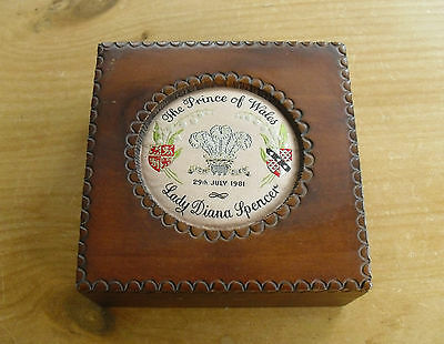 """Cash's Silk Topped Wooden Box - Prince Charles & Lady Diana Wedding - 4 3/4"""""""